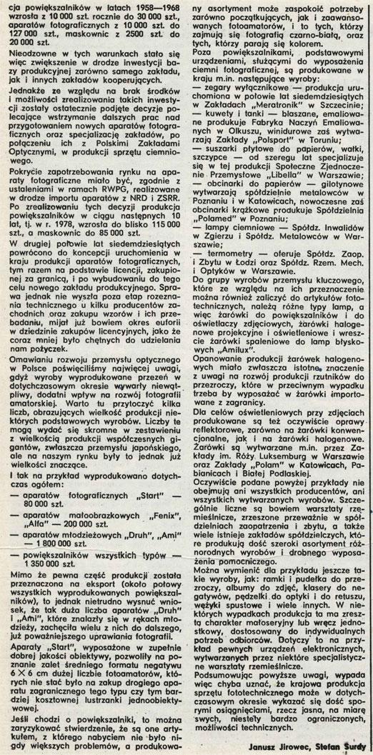 Produkcja sprzętu fotograficznego w PRL